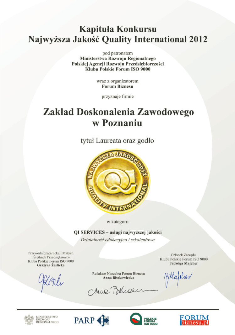 Medal Certyfikat Najwyższa Jakość 2012