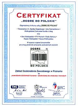 """Certyfikat """"Dobre bo polskie"""""""