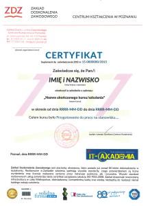 Certyfikat - suplement do zaświadczenia o ukończeniu kursu/szkolenia